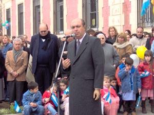 Autoridad. El Director de Educación de Gestión Privada, Lic. Juan Odriozola, fue uno de los oradores en el acto que se realizó por el centenario